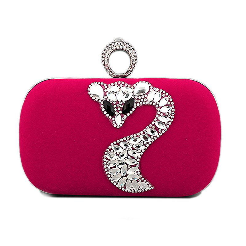 Ring Evening Cocktail Clutch with Crystal Fox Pattern