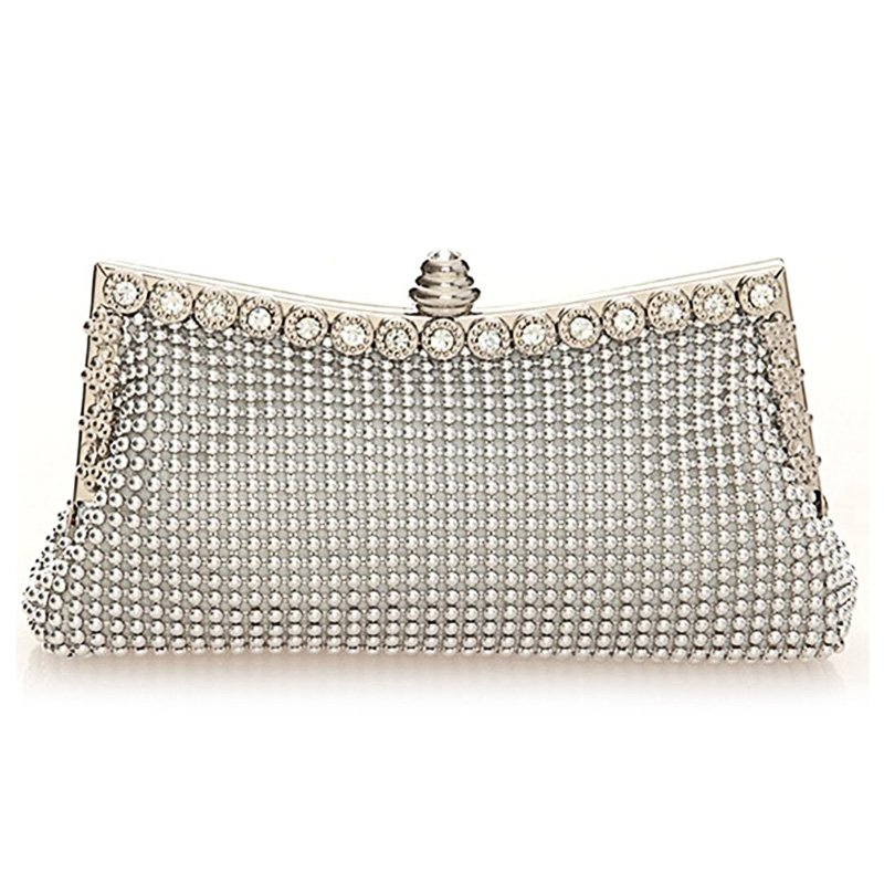 Dimple Mesh Beaded Mini Clutch Evening Bag