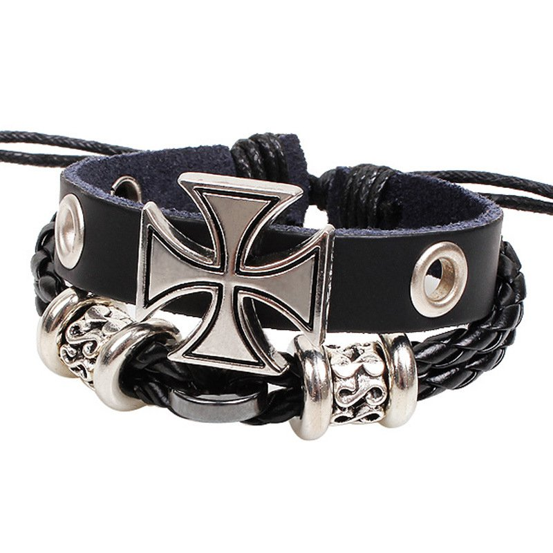 Black Dual Strand Alloy Cross Braided Leather Bracelet