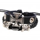 Black Dual Strand Alloy Cross Braided Leather Bracelet