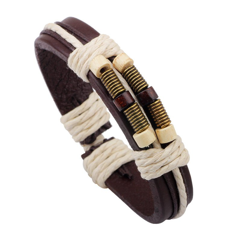 Retro Alloy Dual Strand Leather Bracelet With Beads