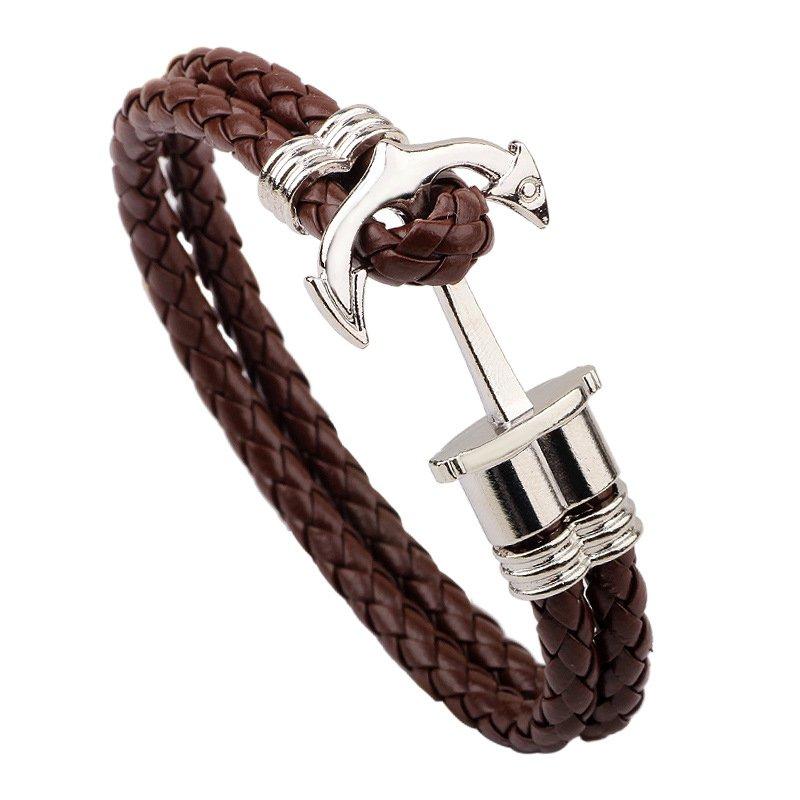 Modern Fashion Braided Anchor Leather Bracelet