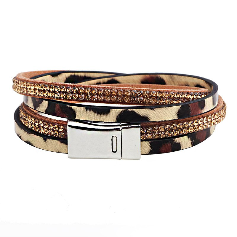 Leopard Pattern Rhinestone Studded Leather Bracelet