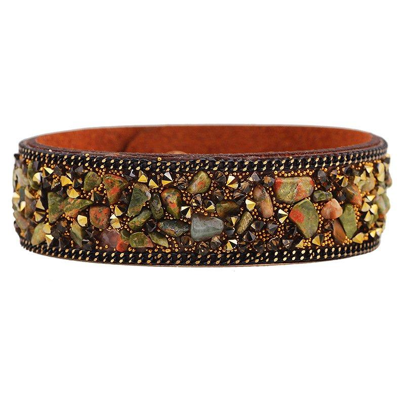 Multicolor Luxury Rhinestone Faux Leather Bracelet