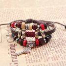 Brown Multi-strand Beads Leather Bracelet With Key Pendant
