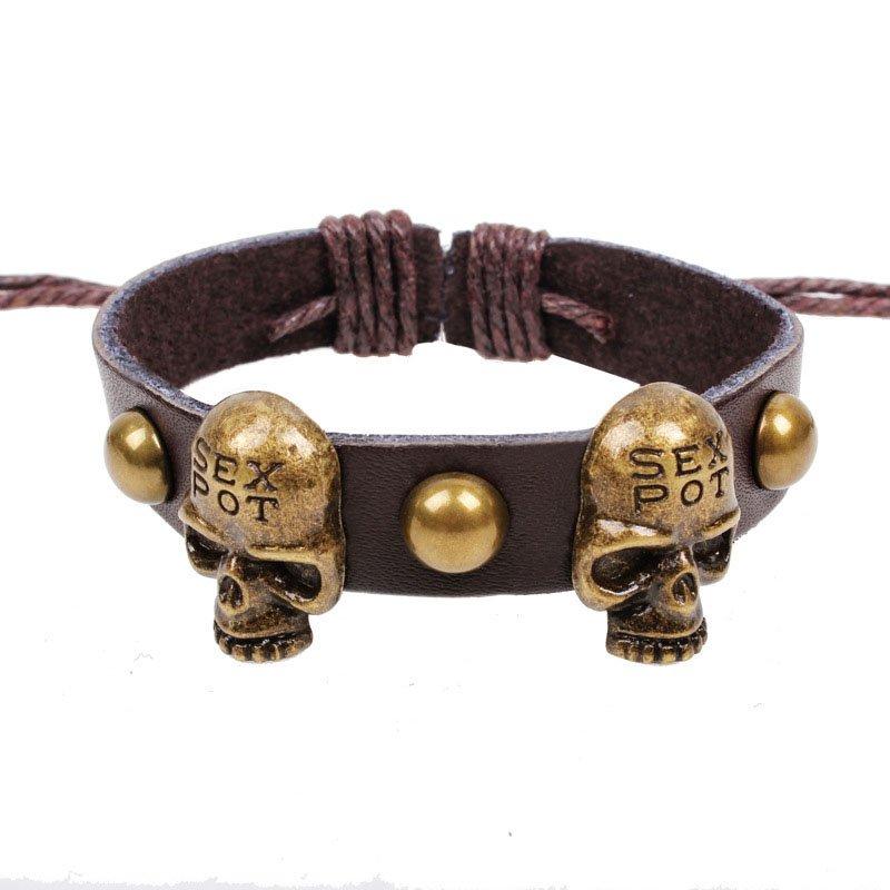 Retro Sex Pot Skulls Handmade Rivets Leather Bracelet
