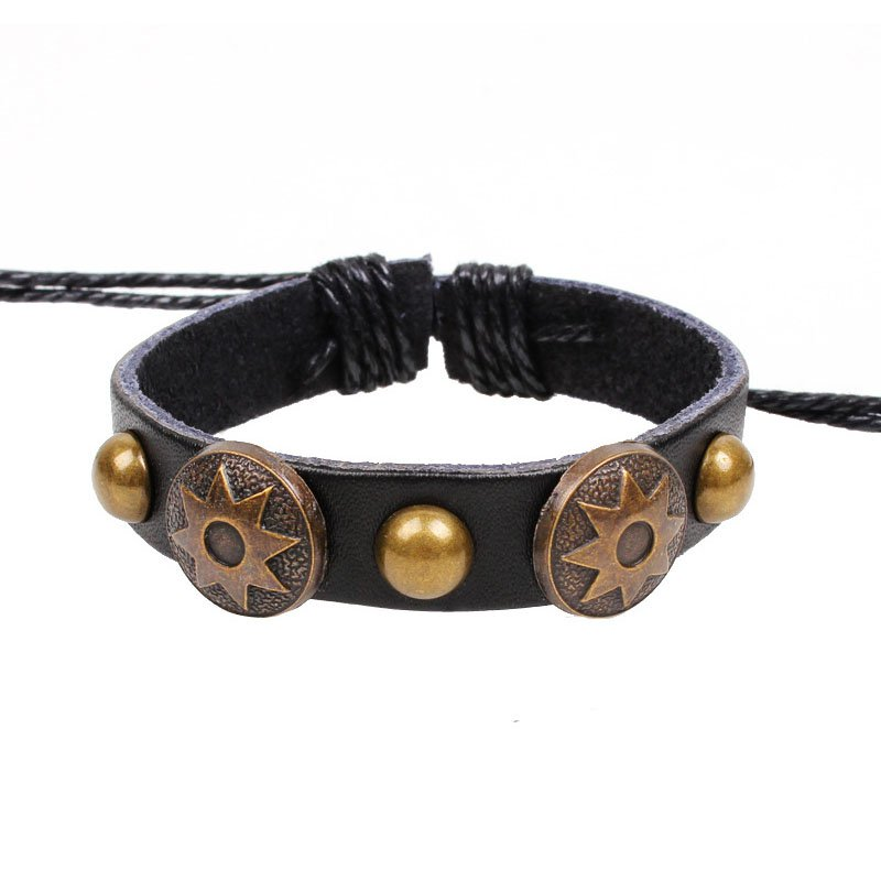 Retro Sun Pattern Handmade Rivets Leather Bracelet