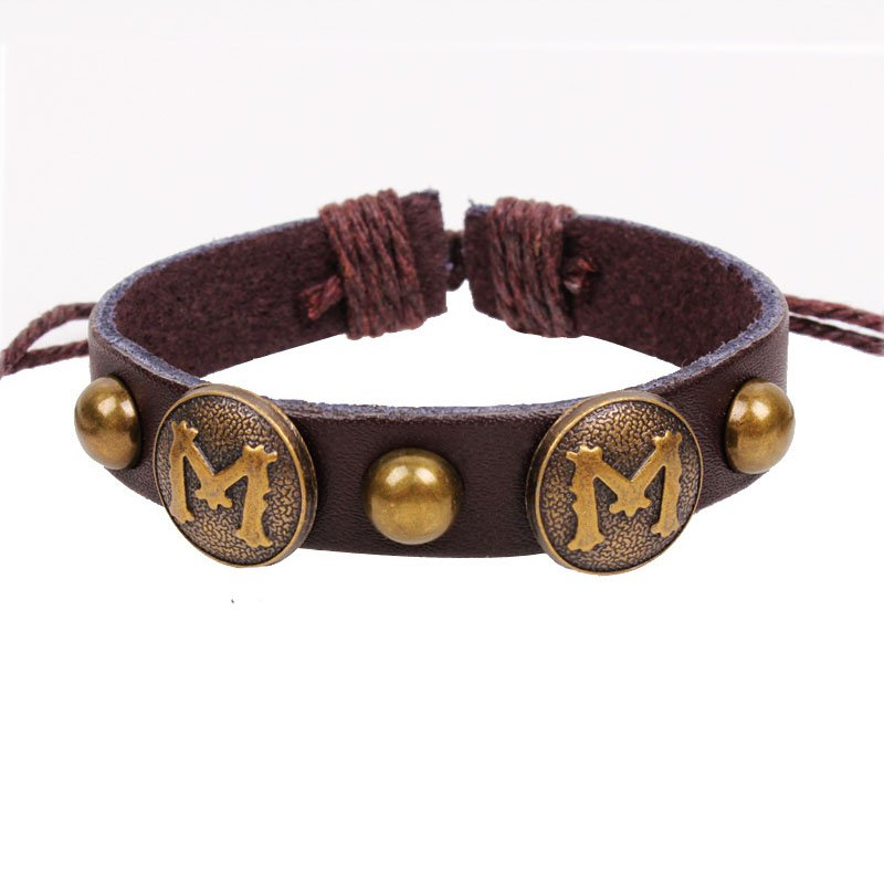 "Retro Letter ""M"" Handmade Rivets Leather Bracelet"