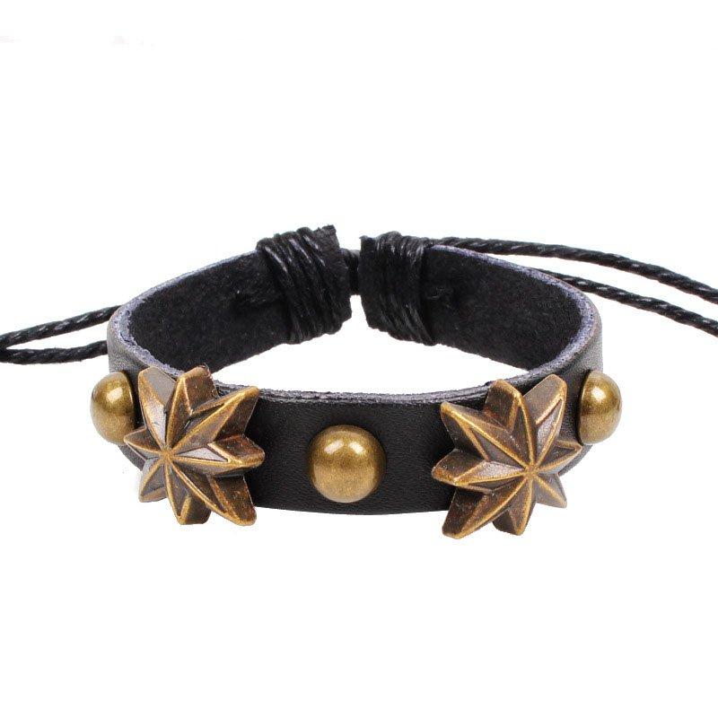 Retro Octangle Flowers Handmade Rivets Leather Bracelet