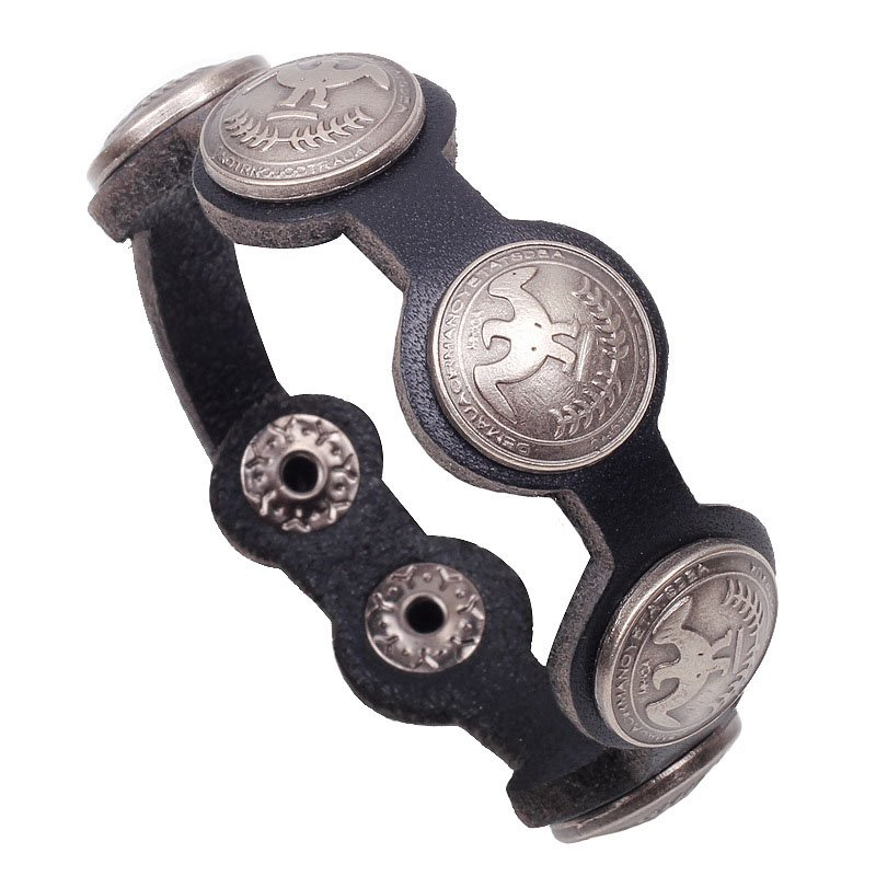 Retro Alloy Peace Doves PU Leather Bracelet