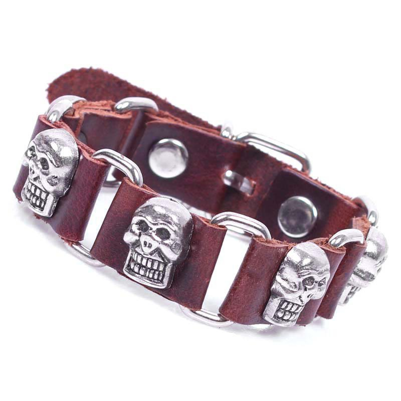 Retro Skulls Handmade Chains Leather Bracelet