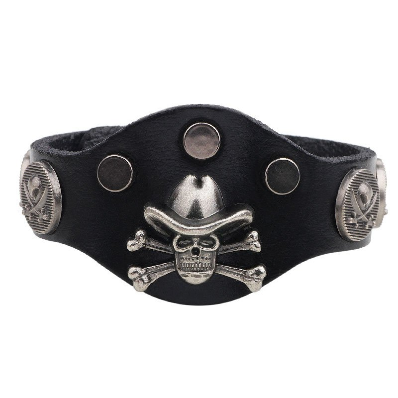 Rock Alloy Skull PU Leather Bracelet With Evil Rivets