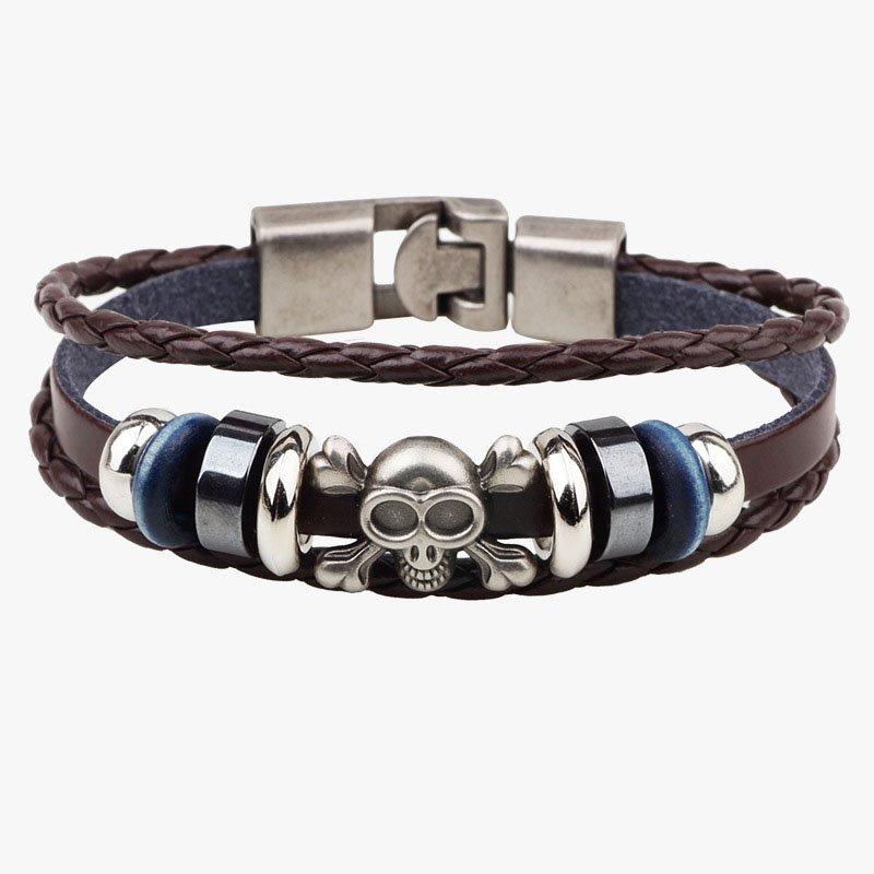 Punk Braided Alloy Skull PU Leather Bracelet