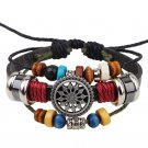 Colorful Wooden Beads PU Leather Bracelet With Alloy Wheel