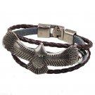 Alloy Hawk Pattern Braided Rings PU Leather Bracelet