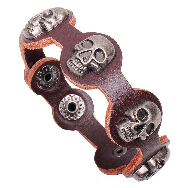 Rock & Punk Alloy Skull Studded PU Leather Bracelet