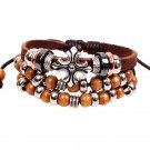 Bohemia Alloy Cross Wood Beads PU Leather Bracelet