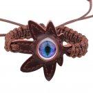 Eye Leaf Pattern PU Leather Bracelet