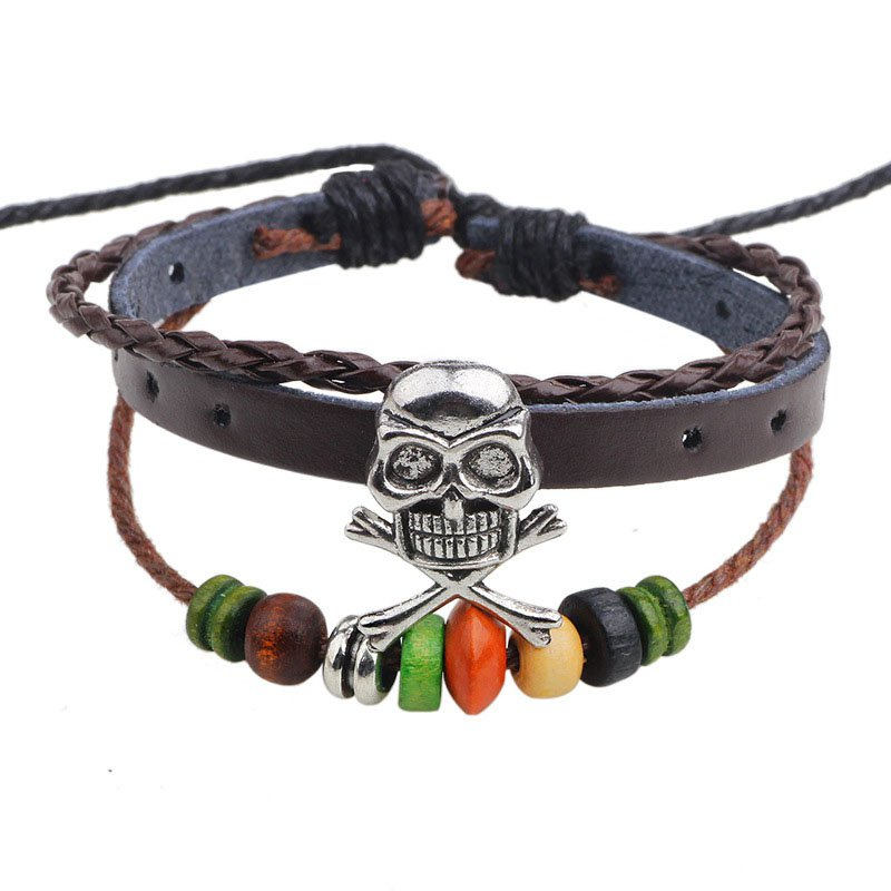 Silver Skull Braided Charm Wood Beads PU Leather Bracelet