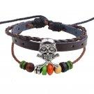 Silver Skull Braided Charm Wood Beads PU Leather Bracelet