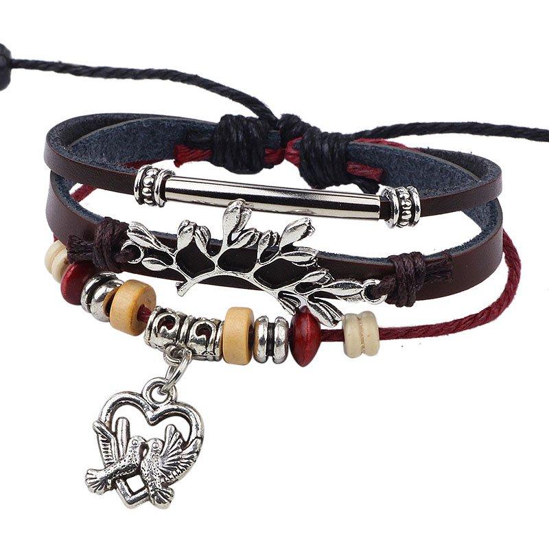 Multistrand Beaded Bangle Magpie Couple Hearts Leather Wrap Bracelet