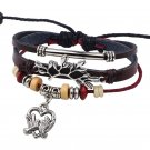 Multistrand Beaded Bangle Magpie Couple Hearts Leather Wrap Bracelet