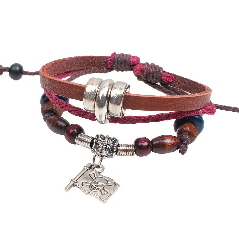 Retro Beads PU Leather Bracelet With Pirate Flag Pendant