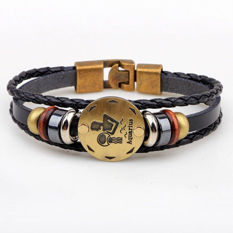 Golden Aquarius Braided Black PU Leather Bracelet