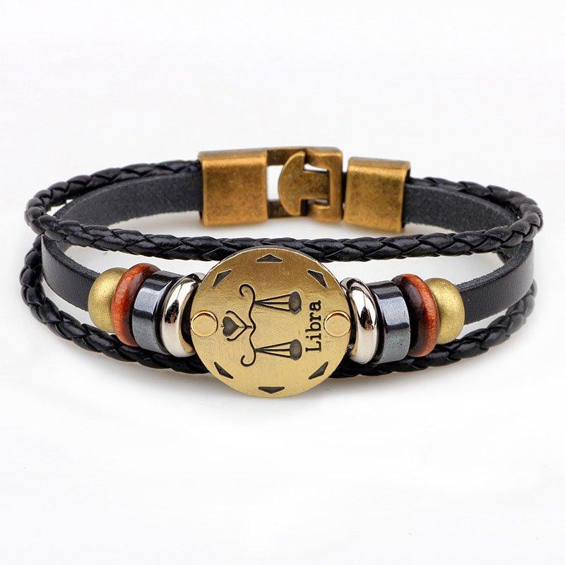 Golden Libra Braided Black PU Leather Bracelet