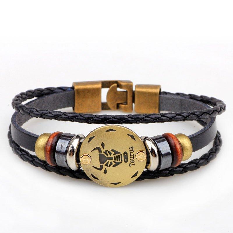 Golden Taurus Braided Black PU Leather Bracelet