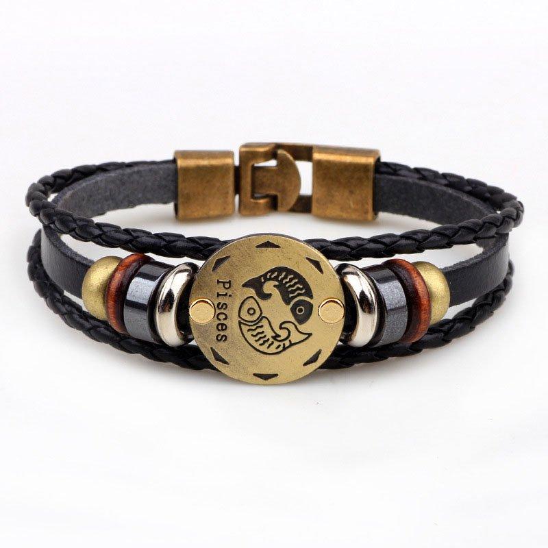 Golden Piesces Braided Black PU Leather Bracelet