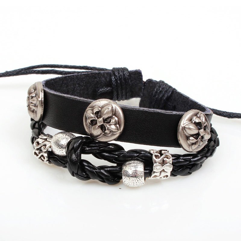Alloy Clover PU Leather Braided Bracelet