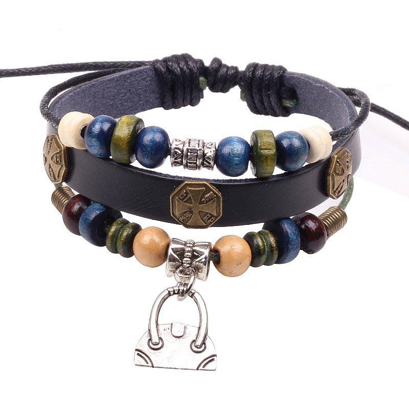 Retro Colorful Beads PU Leather Bracelet With Alloy Mini Bag Pendant