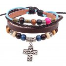 Colorful Wooden Beads PU Leather Bracelet With Alloy Cross