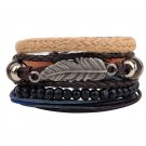 Multilayer Beads Rope Leaf Braided Adjustable PU Leather Bracelet