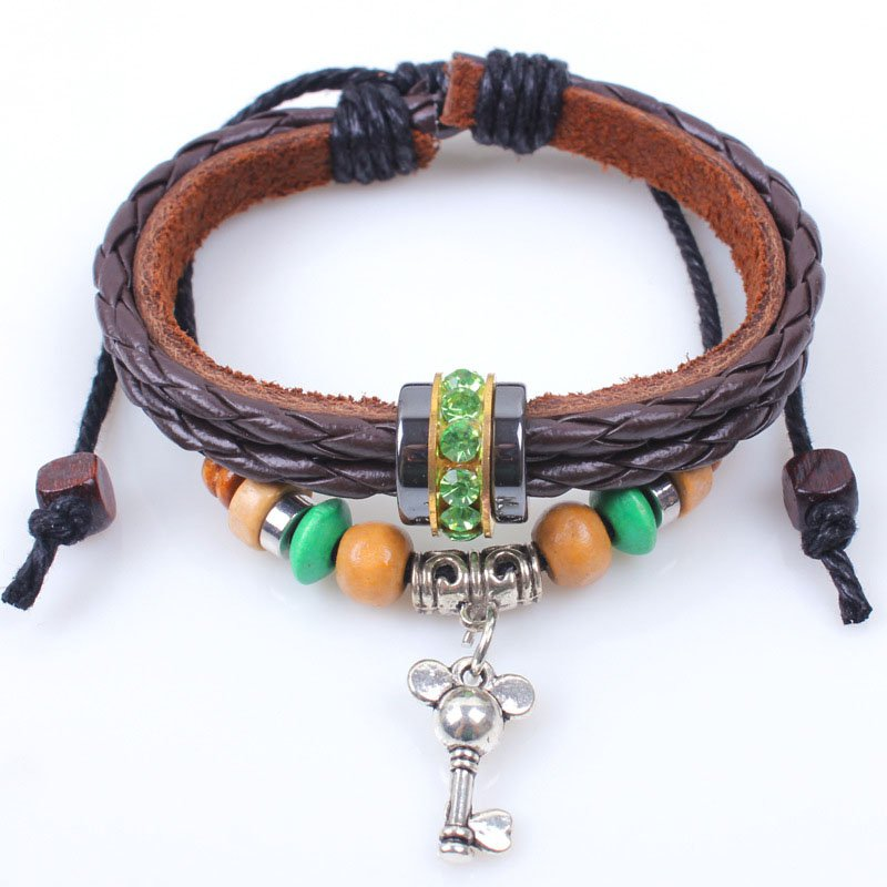 Wooden Beads Handmade Braided Leather Bracelet With Alloy Key Pendant