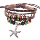 Wooden Beads Handmade Braided Leather Bracelet With Alloy Star Pendant