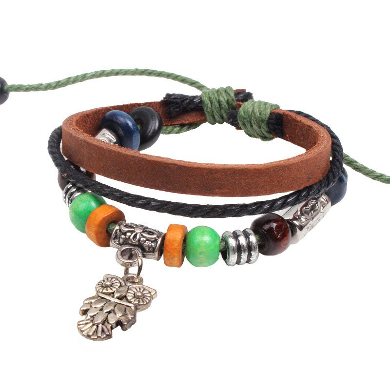 Alloy Beads Handmade Braided Leather Bracelet With Owl Pendant