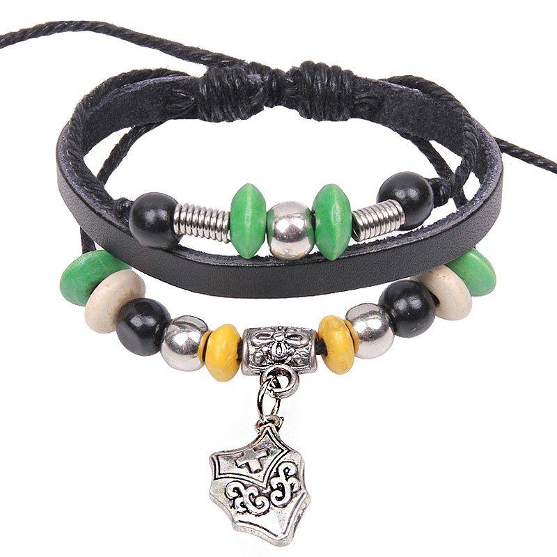 Punk Style Alloy Cross Shield Pendant Beads Drawstring Leather Rope Bracelet