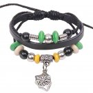Punk Style Alloy Cross Shield Pendant Beads Drawstring Leather Rope Bracelet