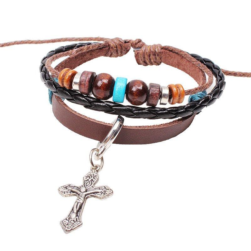 Inspirational Cross Pendant Beads Braided Rope PU Leather Bracelet