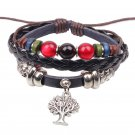 Alloy Beads Handmade Braided Black Leather Bracelet With Tree of Life Pendant