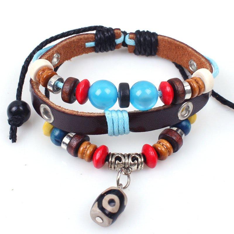 Charm Colorful Beads Retro Rope PU Leather Bracelet