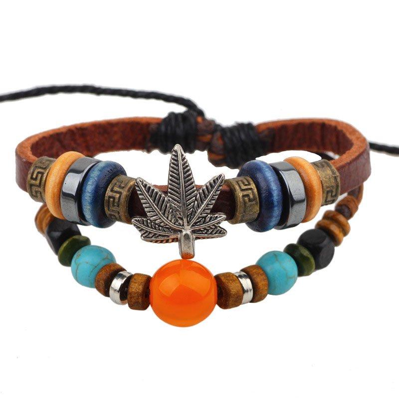 Colorful Beads Retro Metal Leaf PU Leather Bracelet