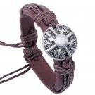 Retro Alloy Shield Rope PU Leather Bracelet