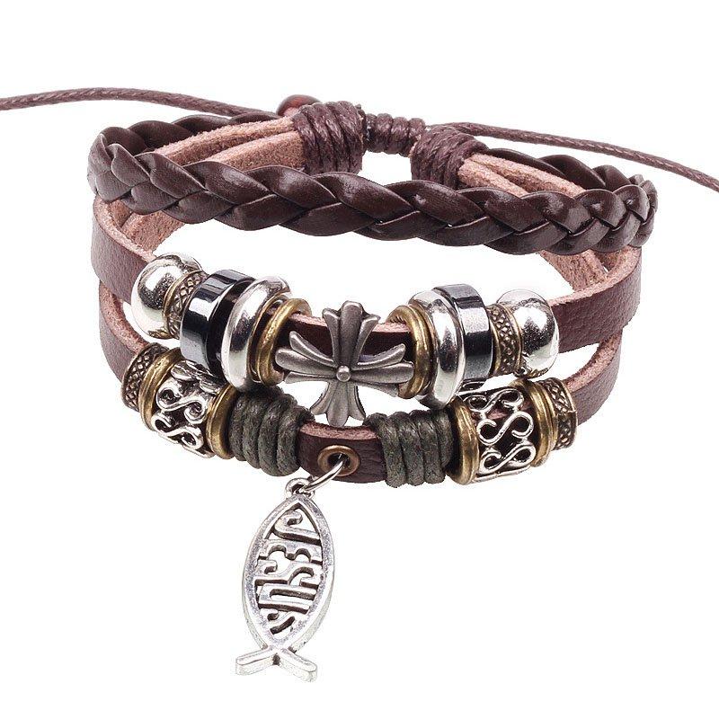 Alloy Fish Pendant Braided Cross PU Leather Bracelet