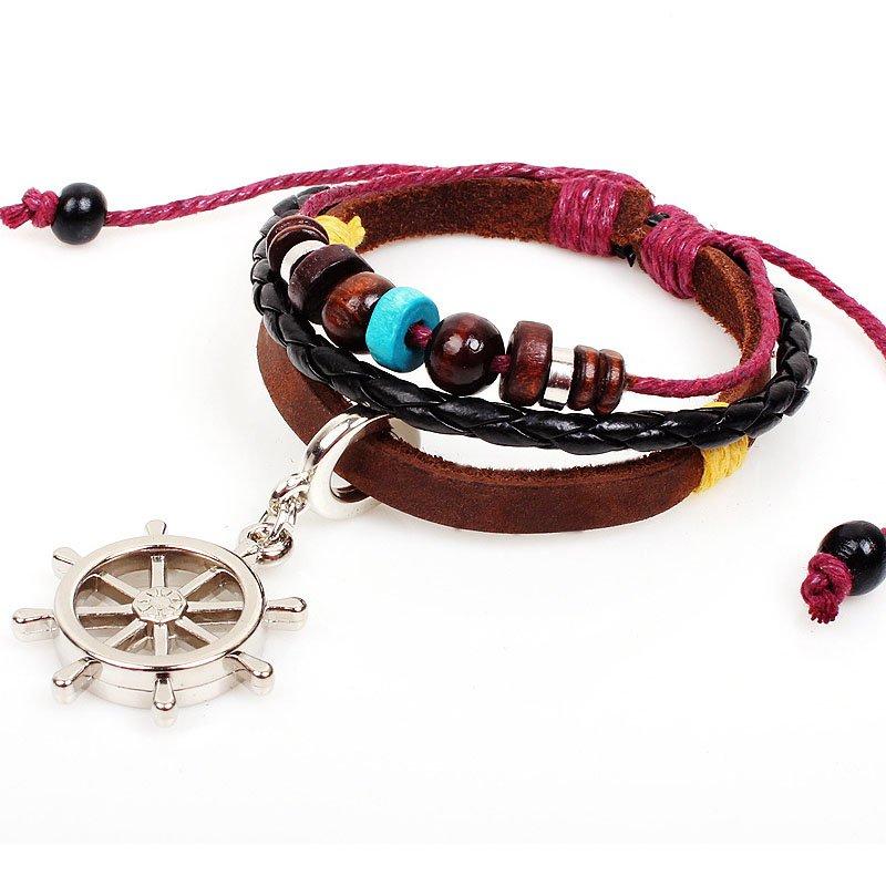 Silver Rudder Pendant Braided Beads PU Leather Bracelet