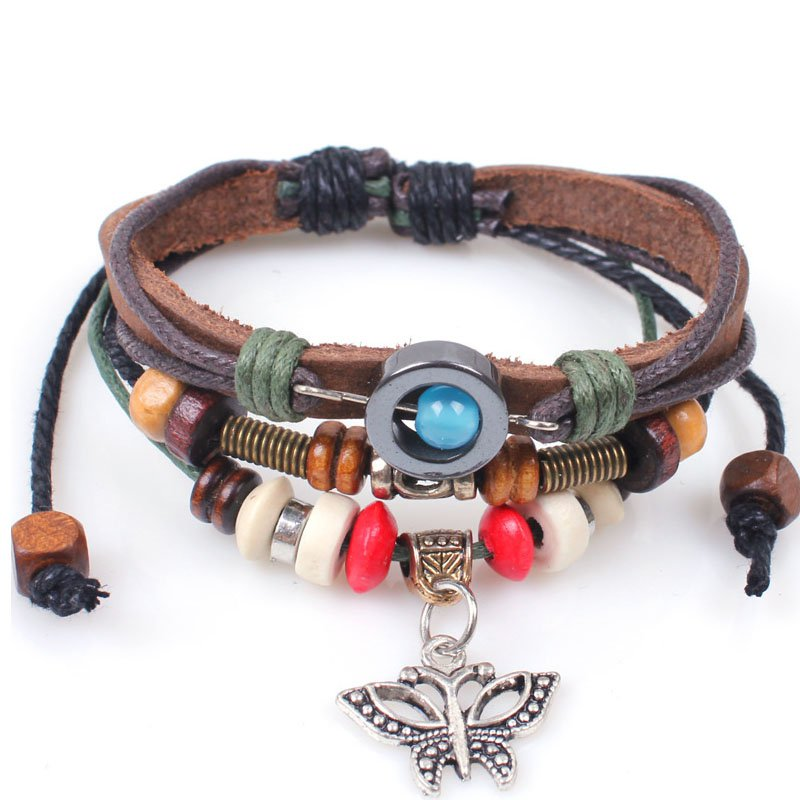 Retro Alloy Butterfly Beads Rope PU Leather Bracelet