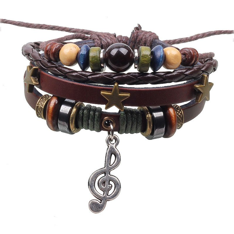 Vintage Alloy Musical Notation Beads Braided PU Leather Bracelet With Star