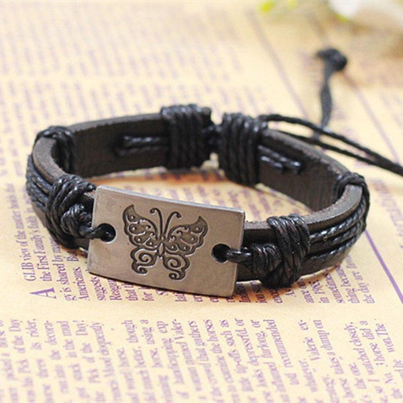 Metal Butterfly PU Leather Bracelet